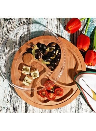 Kosova Bambu Sunum Kahvaltı Tabağı - Kapaklı Kalp Kahvaltılık 30 Cm. Renkli